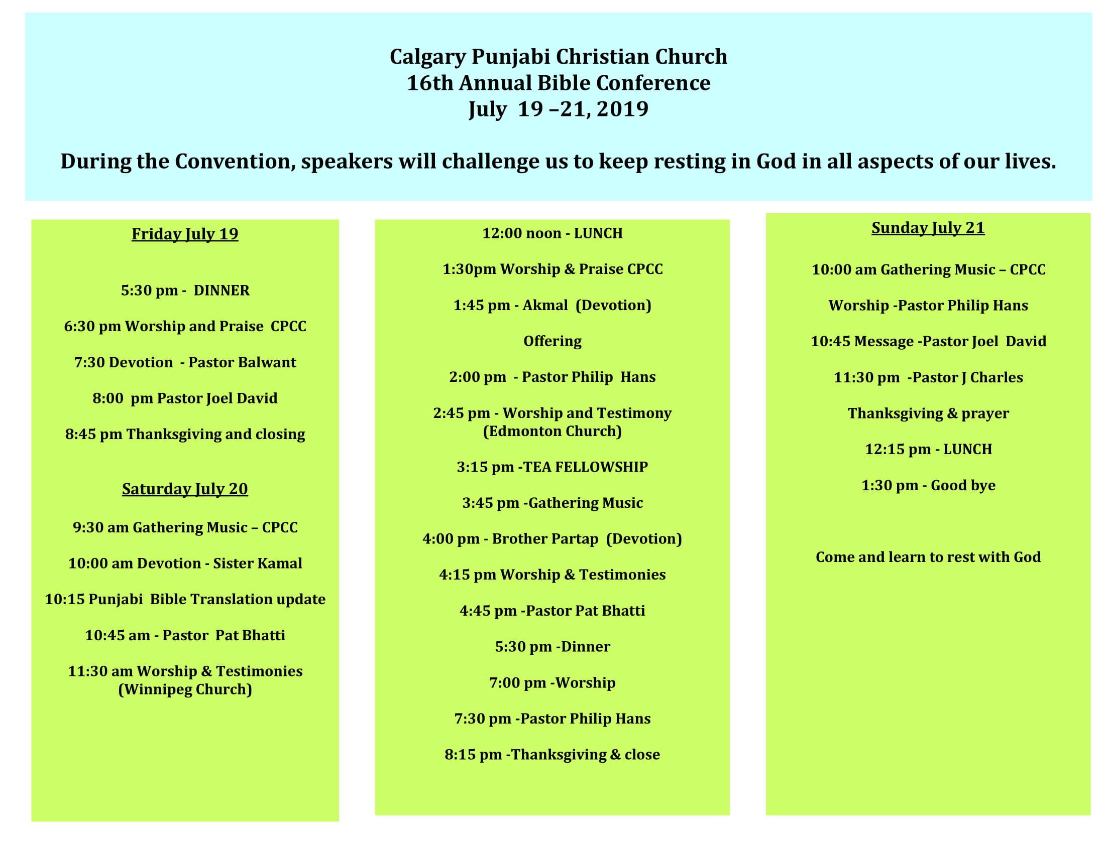 Annual Bible Conference 2019 - Calgary Punjabi Church